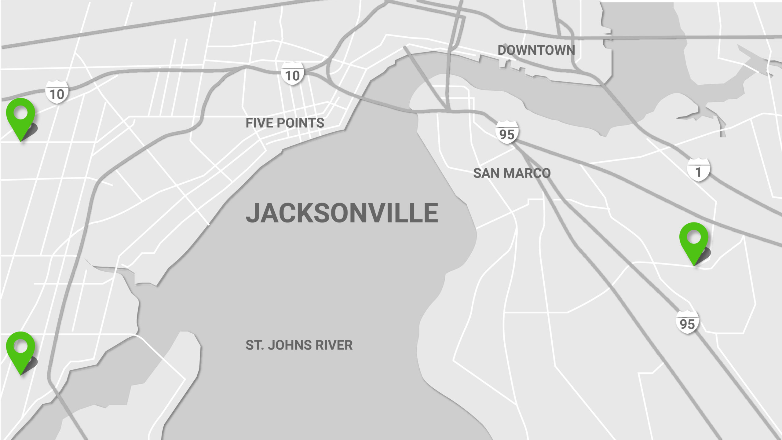 Map of the Oportun locations in Jacksonville, for affordable personal loans.